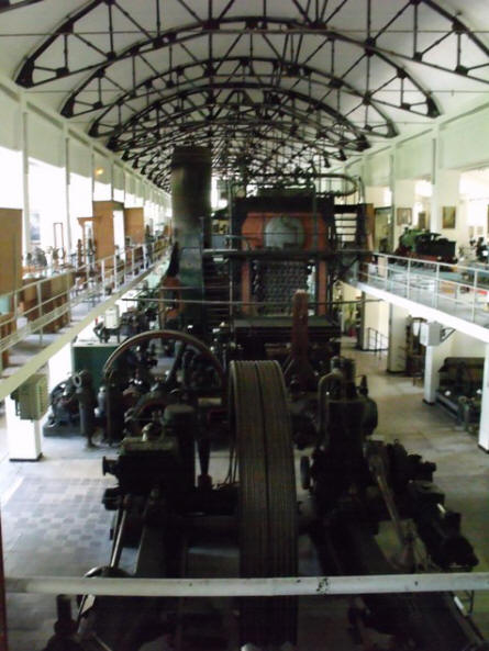 The main exhibition hall at the Technical Museum Dimitrie Leonida in Bucharest. Here you can find steam machines, electric engines and generators, Brush generators 1882, Edison dynamo 1884, the electric engine of the first electric tram from Romania 1894 and much more.