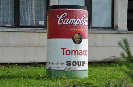 A copy of one of Any Warhol's well-known Campbell's Soup cans outside the Andy Warhol museum in Medzilaborce.