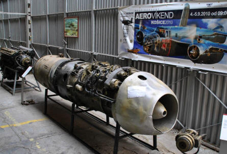 A jet engine for a German World War II Messerschmitt ME-262 fighter displayed at the Museum of Aviation in Košice.