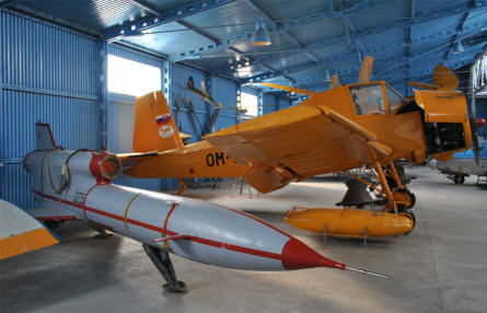 "Two of the many very different types of ""aircrafts"" displayed at the Museum of Aviation in Košice. In front a Tupolev Tu-143 (Reis VR-3) Tactical reconnaissance unmanned aircraft and behind it a Let Z-37 ""Čmelák"" (Bumble-Bee) agricultural aircraft."