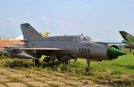 "A classic ""cold war"" MIG-21Fishbed fighter displayed at the Museum of Aviation in Košice."