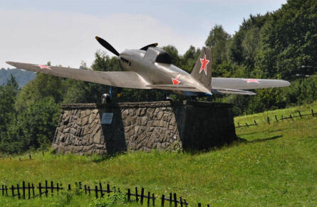 A Russian World War II IL-2 Sturmovik displayed along the main road thru the Dukla Pass.