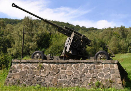 A Russian World War II anti-aircraft gun displayed along the main road thru the Dukla Pass.