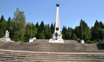 The Soviet Army Memorial in Svidnik seen from the bottom of the stairs.