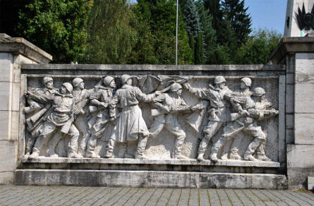One of the large reliefs at the Soviet Army Memorial in Svidnik.