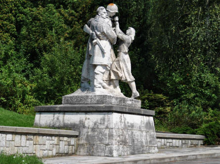One of the statues at the Soviet Army Memorial in Svidnik.