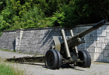 A Russian World War II artillery gun at the entrance to the Soviet Army Memorial in Svidnik.