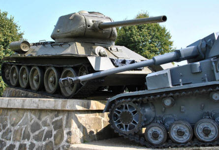"The famous tank monument - with a Russian T-34 ""crushing"" a German tank - outside Svidnik marks at the entrance to the Valley of Death at the Dukla Pass."