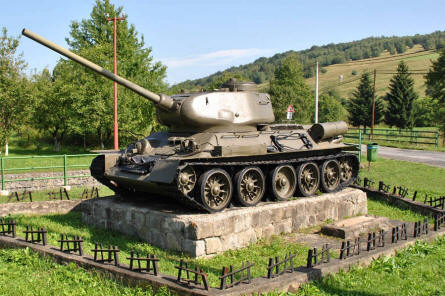 A Russian World War II T-34 tank turned into a monument in a small village within the Valley of Death at the Dukla Pass.