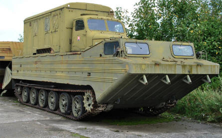 A Warsaw pact tracked amphibious military transport vehicle displayed at the Military Museum in Piešťany.