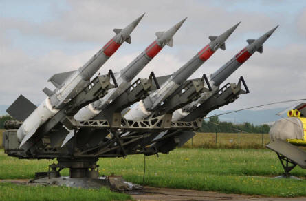 Anti-aircraft missiles displayed at the Military Museum in Piešťany.