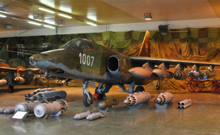 A Russian built MIG-25 Frogfoot attack aircraft displayed at the Military Museum in Piešťany.