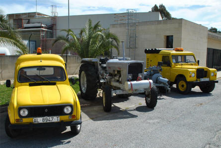 Some of the classic ground handling equipment displayed at the Museum of the Airport of Malaga.