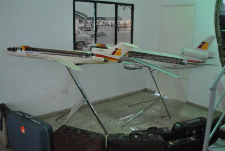 Two of the many airliner model displayed at the Museum of the Airport of Malaga.