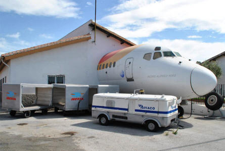 The nose section of a DC-9 is an integrated part of the Museum of the Airport of Malaga.