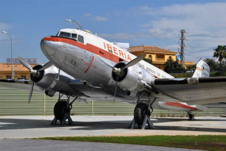 A vintage DC-3 displayed at the Museum of the Airport of Malaga.