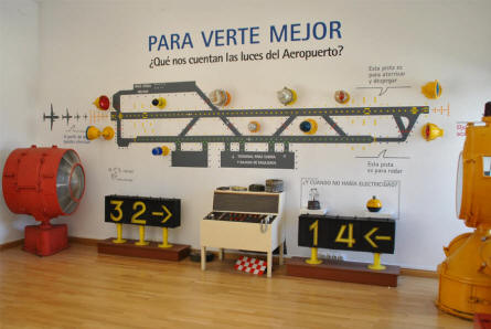 Some of the runway equipment displayed at the Museum of the Airport of Malaga.