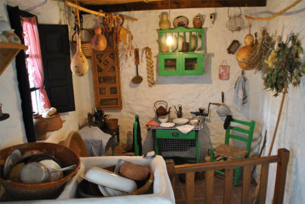A vintage kitchen displayed at the Ethnological Museum in Mijas.