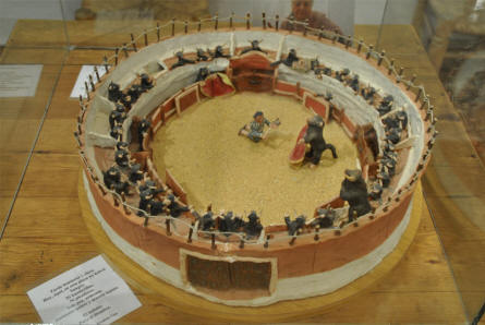 A miniature of a bullfighting arena displayed at the Ethnological Museum in Mijas.