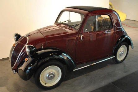 A 1936 Fiat Topolino displayed at the Automobile Museum of Málaga.