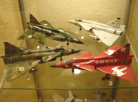 Some of the scale model aircrafts that are displayed at the Ängelholm Aircraft Museum.
