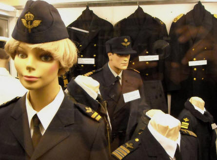Some of the more modern Swedish Air Force uniforms that are displayed at the Ängelholm Aircraft Museum.