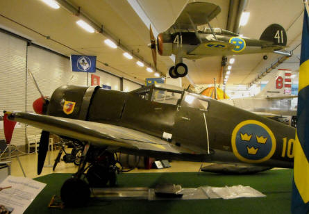 "A Swedish World War II FFVS J 22 displayed at the Ängelholm Aircraft Museum. The Gloster Gladiator is ""just"" a scale model."