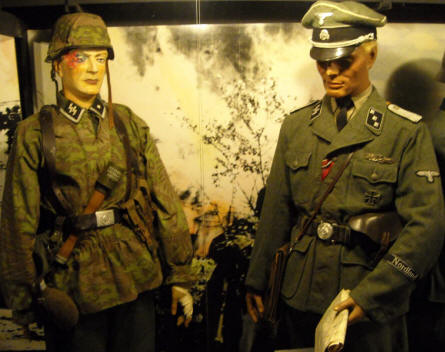 "Some of the German World War II uniforms displayed at the Military Museum ""Beredskapsmuseet""."