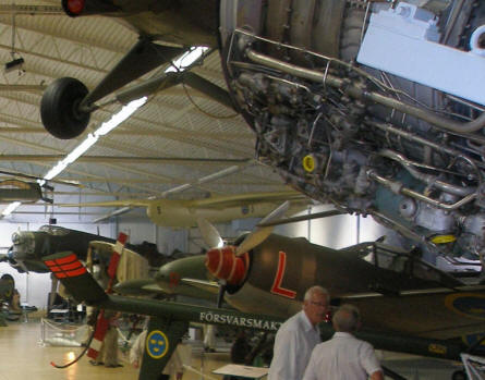 Some of the many different aircrafts at the Swedish Air Force Museum. In the background a Junkers Ju 86K.
