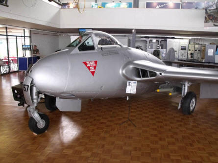 One of the early jet fighters displayed at the Museum of Military Aviation Payerne.