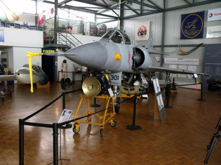 A French built Mirage jet fighter displayed at the Museum of Military Aviation Payerne.
