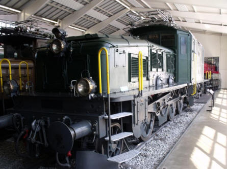 One of the locomotives displayed at the Swiss Museum of Transport in Luzern.