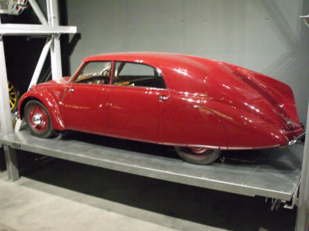 One of the vintage cars displayed at the Swiss Museum of Transport in Luzern.
