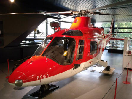 A rescue helicopter displayed at the Swiss Museum of Transport in Luzern.