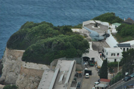 The 100 Ton Gun Museum in Gibraltar - seen from the rock of Gibraltar.