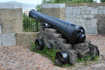 A vintage canon displayed at the Moorish Castle in Gibraltar.