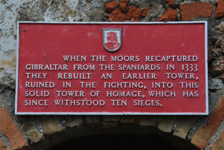 A sign the Moorish Castle in Gibraltar - telling a bit about the castles history.