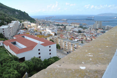 A part of the magnificent view from the Moorish Castle in Gibraltar. The white building is the new modern prison.