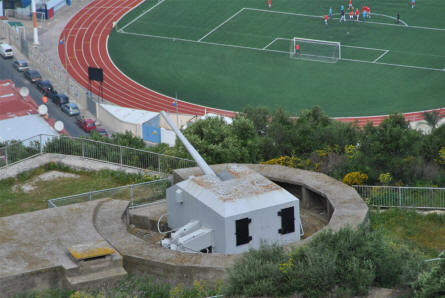 One of the World War II gun position located at the Rock of Gibraltar. This gun is located just above the football stadium.