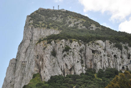 The highest point of the Rock of Gibraltar - with its radio antennas.
