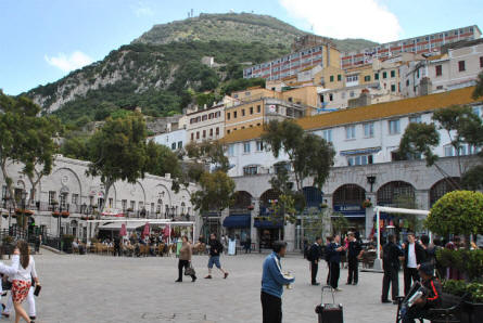 Looking up at the Rock of Gibraltar from the Casemate square at Gibraltar city.