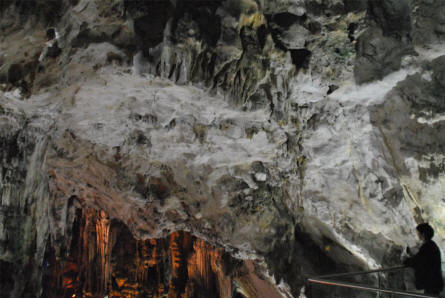 Some of the many beautiful limestone stalactites at the St. Michaels Cave in Gibraltar.