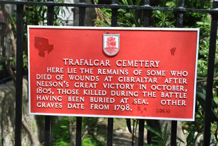 A sign outside the Trafalgar Cemetery in Gibraltar.