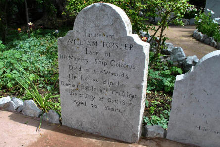 "A ""Battle of Trafalgar"" tombstone at the Trafalgar Cemetery in Gibraltar."
