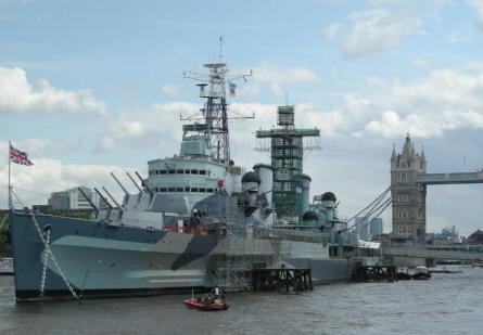 HMS Belfast with Tower Bridge in the background.