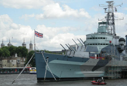 HMS Belfast with Tower of London in the background.