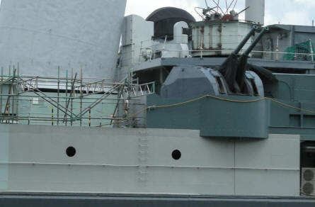 Some of the many anti-aircraft guns at HMS Belfast.