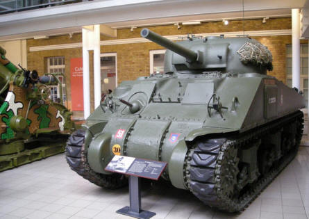 World War II Sherman tank at the Imperial War Museum in London.