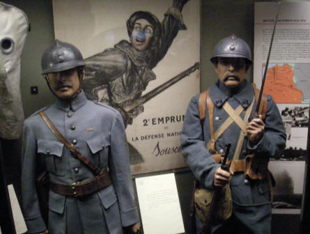 French uniforms from World War I at the Imperial War Museum in London.