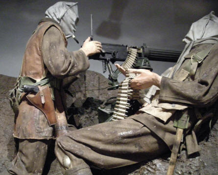 "British World War I soldiers ""fighting"" at the National Army Museum in Chelsea."